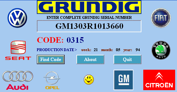 Car radio code calculator gratuit